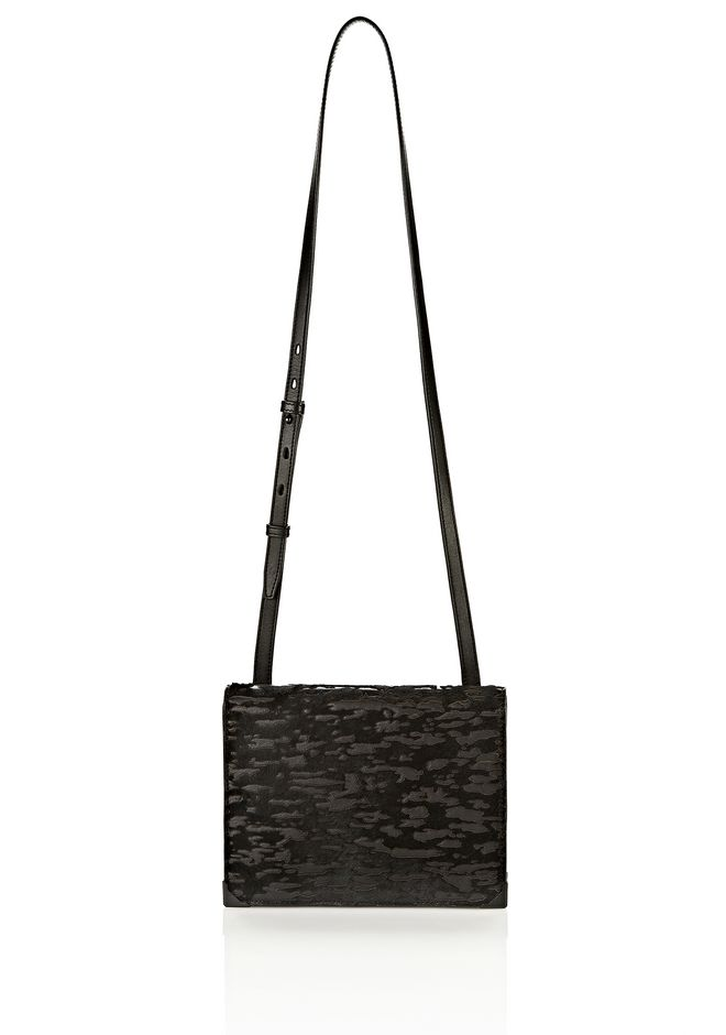 ALEXANDER WANG PRISMA SKELETAL DOUBLE ENVELOPE IN PONY WITH MATTE BLACK CLUTCH Adult 12_n_f