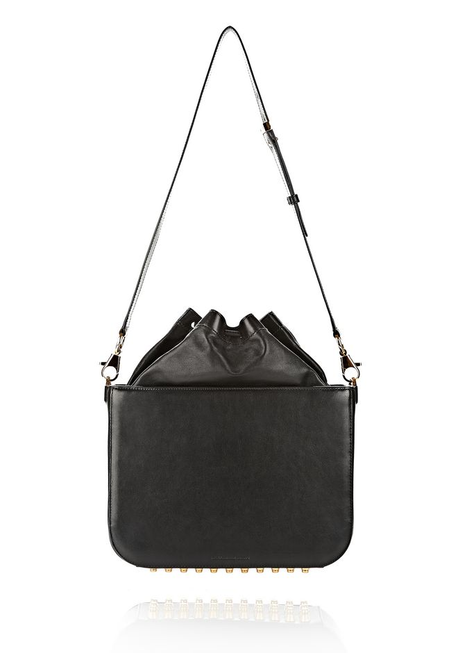 ALEXANDER WANG FLAT BUCKET BAG IN BLACK WITH YELLOW GOLD Shoulder bag Adult 12_n_d