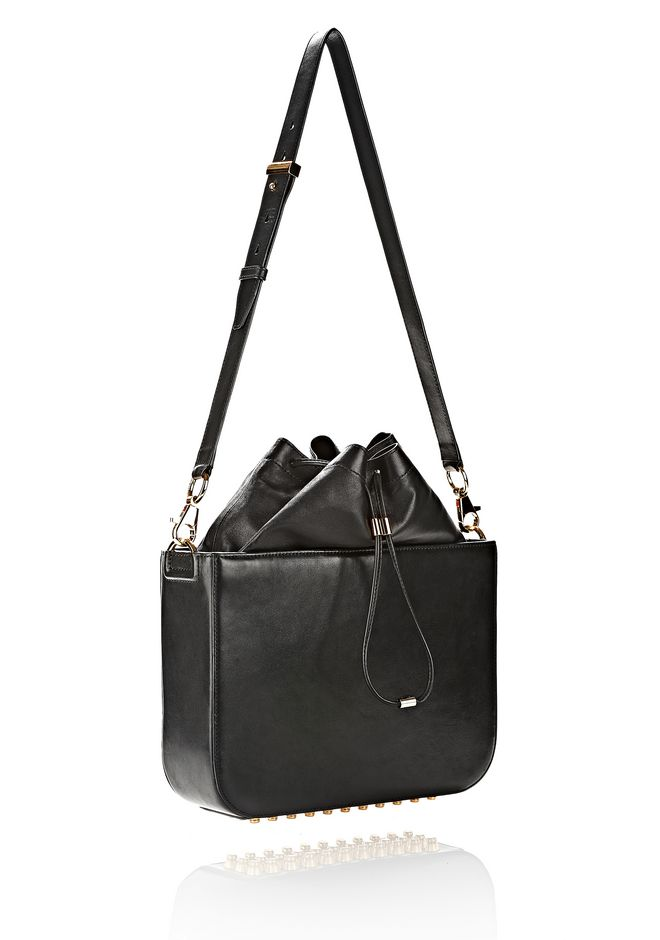 ALEXANDER WANG FLAT BUCKET BAG IN BLACK WITH YELLOW GOLD Shoulder bag Adult 12_n_e
