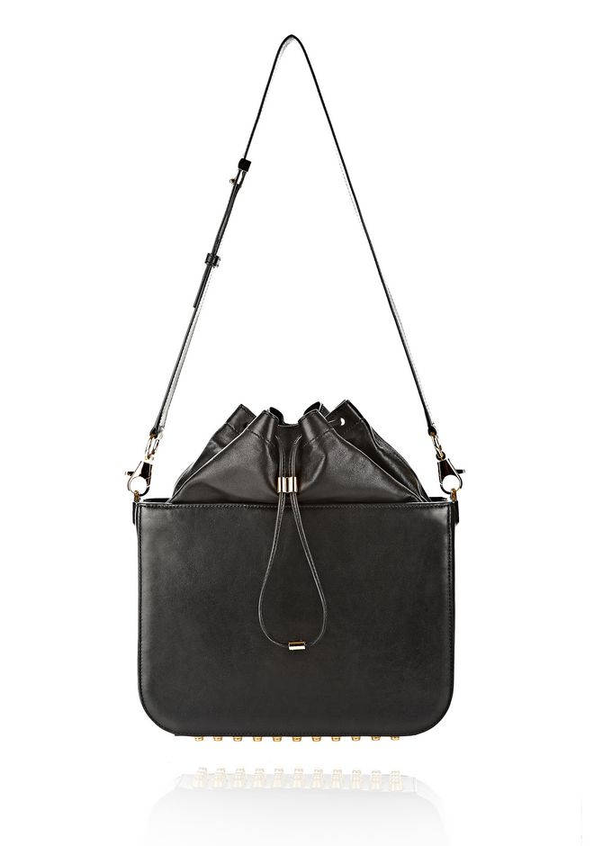 ALEXANDER WANG FLAT BUCKET BAG IN BLACK WITH YELLOW GOLD Shoulder bag Adult 12_n_f