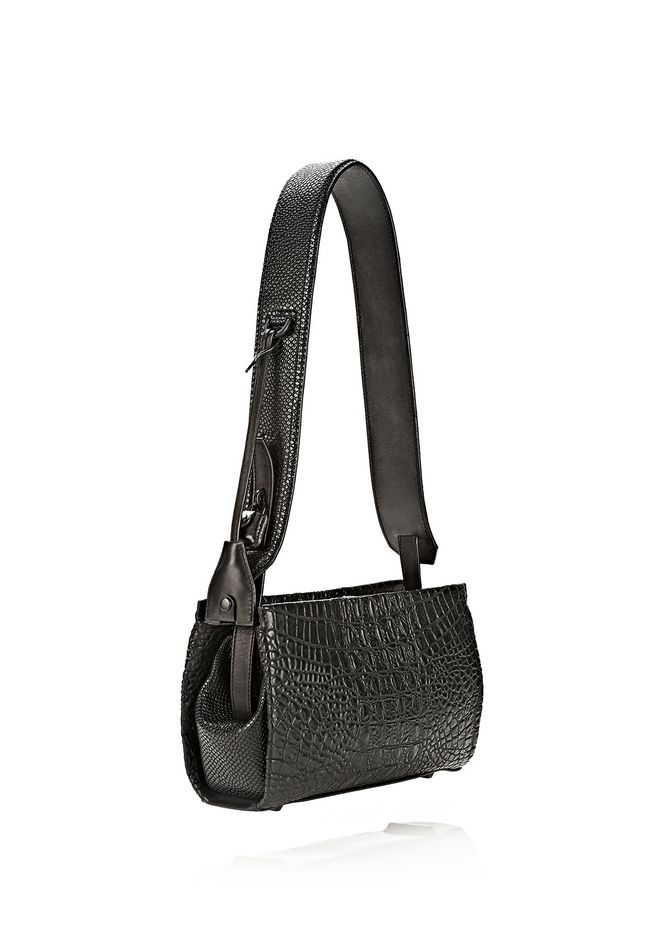 ALEXANDER WANG PELICAN SLING IN EMBOSSED MATTE BLACK WITH MATTE BLACK Shoulder bag Adult 12_n_e