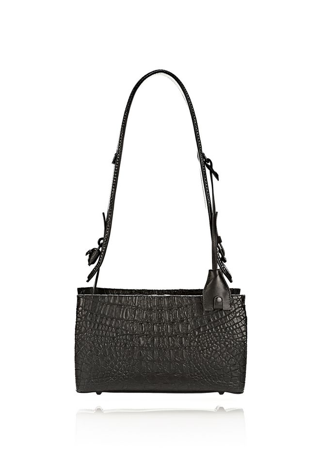 ALEXANDER WANG PELICAN SLING IN EMBOSSED MATTE BLACK WITH MATTE BLACK Shoulder bag Adult 12_n_f
