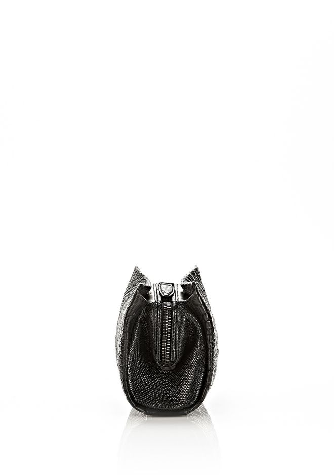 ALEXANDER WANG PELICAN CLUTCH IN EMBOSSED MATTE BLACK WITH MATTE BLACK CLUTCH Adult 12_n_d