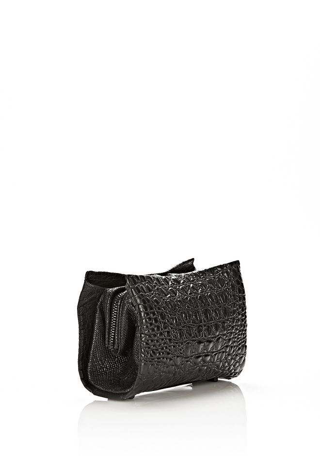 ALEXANDER WANG PELICAN CLUTCH IN EMBOSSED MATTE BLACK WITH MATTE BLACK CLUTCH Adult 12_n_e