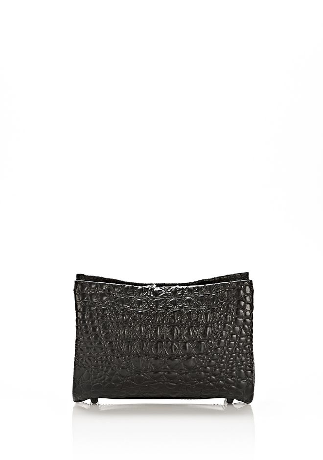 ALEXANDER WANG PELICAN CLUTCH IN EMBOSSED MATTE BLACK WITH MATTE BLACK CLUTCH Adult 12_n_f