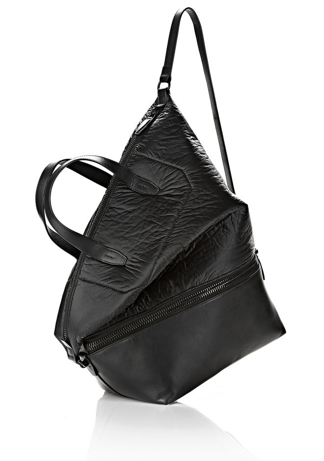 ALEXANDER WANG EXPLORER TOTE IN SHINY BLACK NYLON WITH MATTE BLACK Travel Adult 12_n_e