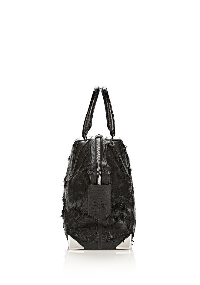 ALEXANDER WANG PRISMA EMILE TOTE IN WET BLACK HAIRCALF WITH RHODIUM TOTE/DEL Adult 12_n_d