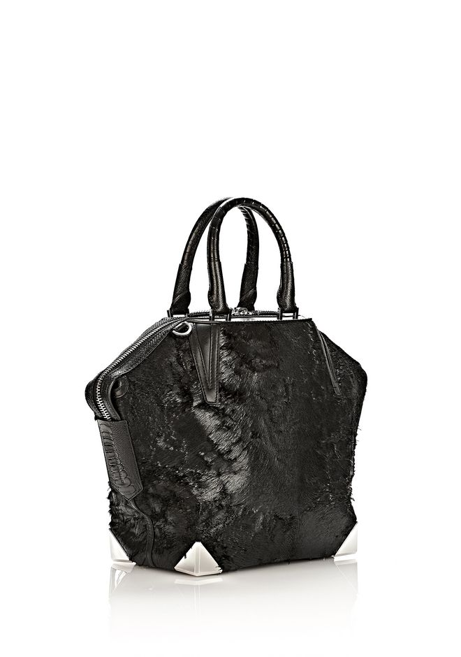 ALEXANDER WANG PRISMA EMILE TOTE IN WET BLACK HAIRCALF WITH RHODIUM TOTE/DEL Adult 12_n_e