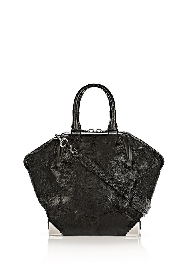 ALEXANDER WANG PRISMA EMILE TOTE IN WET BLACK HAIRCALF WITH RHODIUM TOTE/DEL Adult 12_n_f