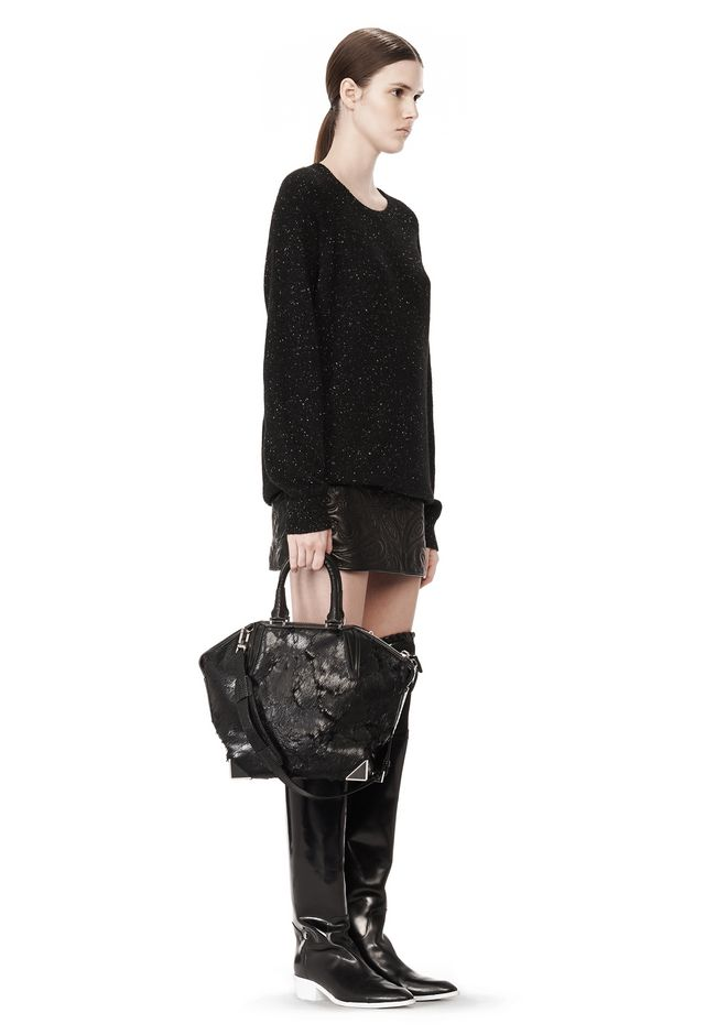 ALEXANDER WANG PRISMA EMILE TOTE IN WET BLACK HAIRCALF WITH RHODIUM TOTE/DEL Adult 12_n_r