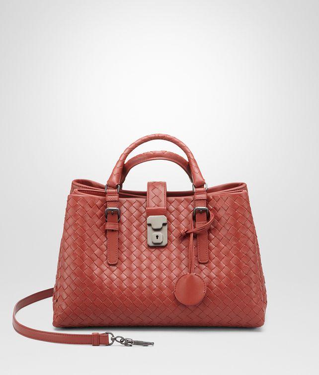 a9466d934e BOTTEGA VENETA Burnt Red Intrecciato Light Calf Roma Bag Top Handle Bag
