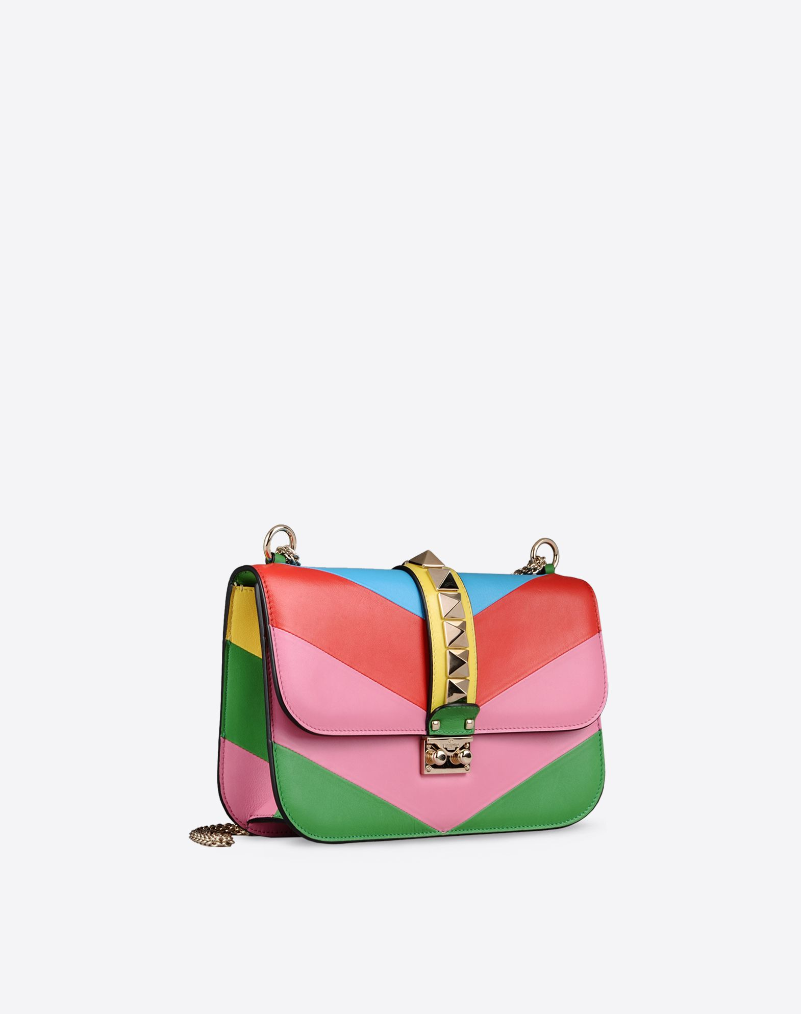 VALENTINO Metal Applications Multicolor Pattern Framed closure Lined interior Metallic straps  45249550vj