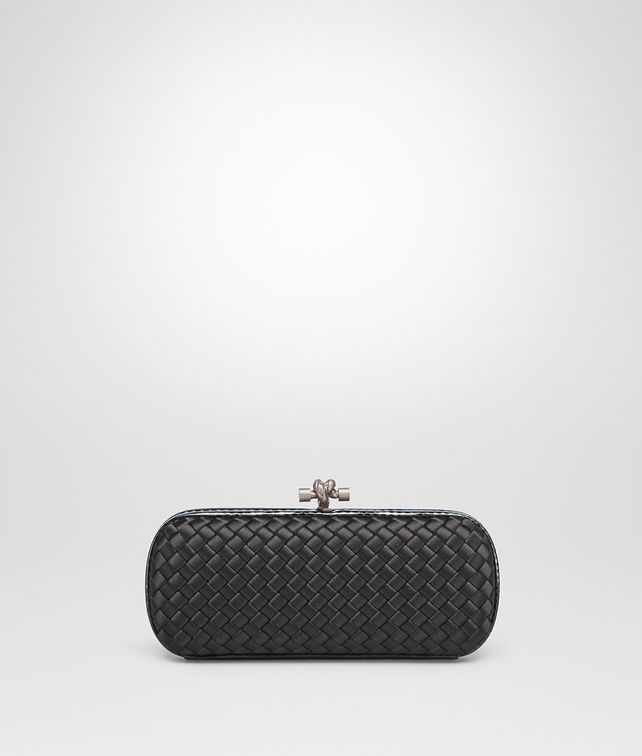 BOTTEGA VENETA STRETCH KNOT IN NERO INTRECCIO IMPERO, AYERS DETAILS Clutch D fp