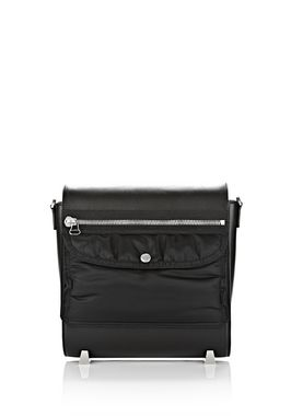 MEDIUM CHASTITY BOMBER MESSENGER BAG IN SMOOTH BLACK