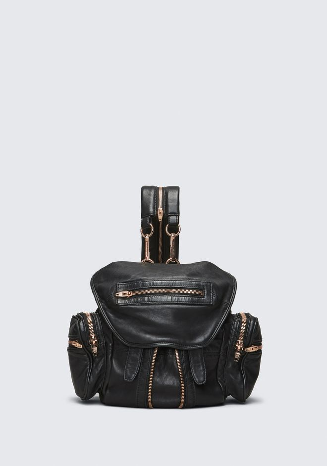 ALEXANDER WANG BACKPACKS Women MINI MARTI BACKPACK IN WASHED BLACK WITH ROSE GOLD