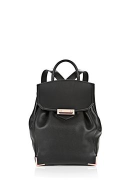PRISMA SKELETAL BACKPACK IN SOFT PEBBLED BLACK WITH ROSE GOLD