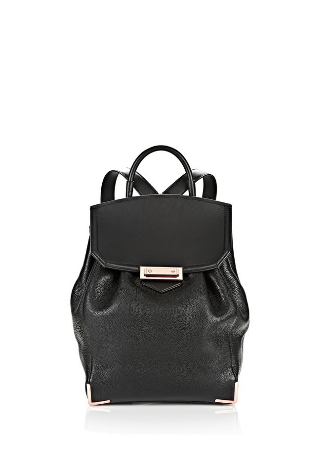 ALEXANDER WANG BACKPACKS PRISMA SKELETAL BACKPACK IN SOFT PEBBLED BLACK WITH ROSE GOLD