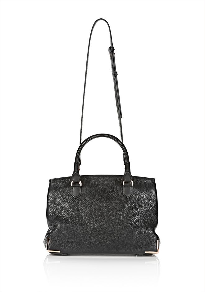 LARGE MARION IN SOFT PEBBLED BLACK WITH ROSE GOLD | Shoulder Bag ...