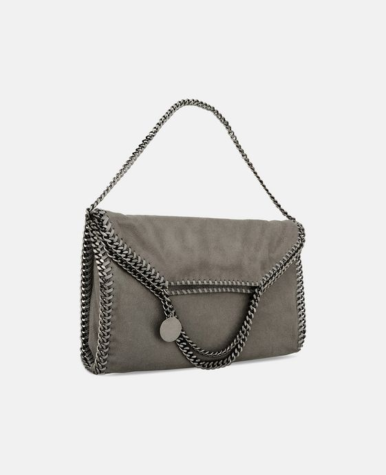 STELLA McCARTNEY Light Grey Falabella Shaggy Deer Fold Over Tote Tote D h
