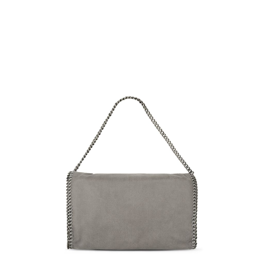 Light Grey Falabella Shaggy Deer Fold Over Tote  - STELLA MCCARTNEY