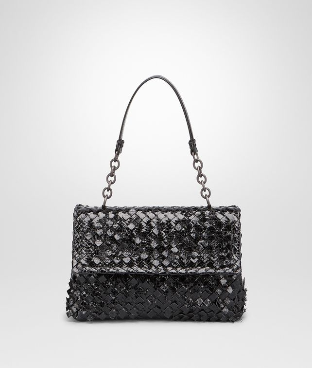 BOTTEGA VENETA SMALL OLIMPIA BAG IN NERO INTRECCIO AYERS Shoulder Bag Woman  fp 7ab6550afe8fa