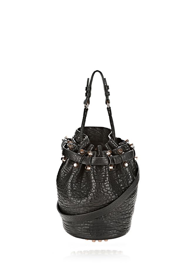 ALEXANDER WANG bags-classics SMALL DIEGO IN PEBBLED BLACK WITH ROSE GOLD