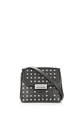 MARION SLING IN SOFT BLACK WITH EYELETS AND RHODIUM