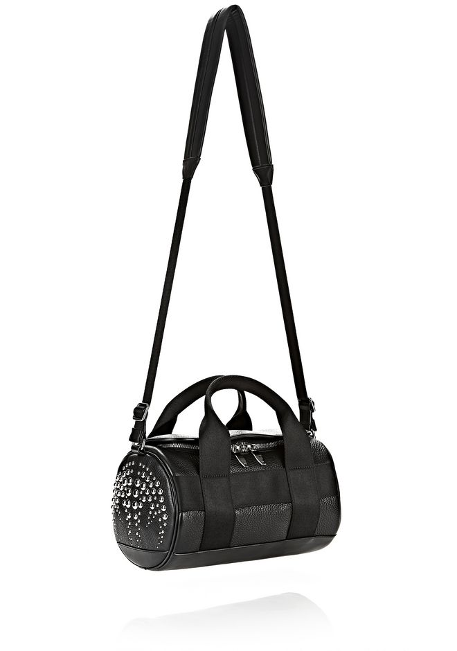 ALEXANDER WANG RUNWAY STUDDED SMALL DUFFEL BAG IN BLACK WITH RHODIUM Shoulder bag Adult 12_n_e