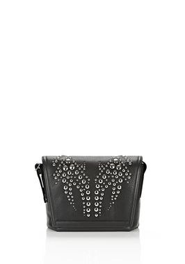 RUNWAY STUDDED MESSENGER BAG IN BLACK WITH RHODIUM