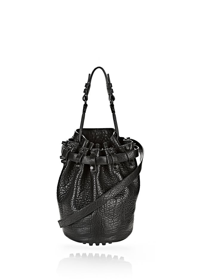 ALEXANDER WANG bags-classics SMALL DIEGO IN PEBBLED BLACK WITH MATTE BLACK