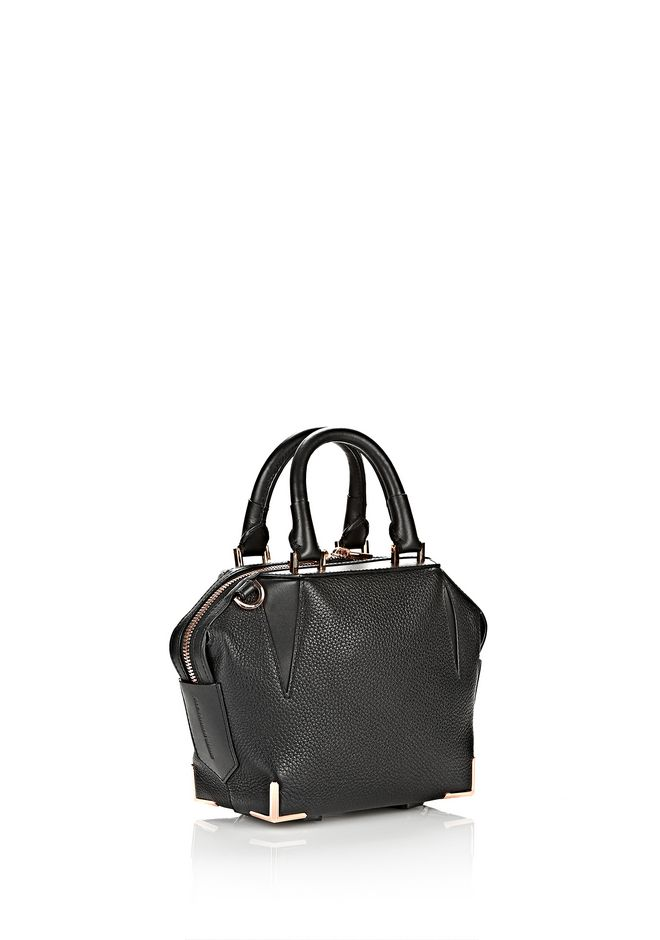 MINI EMILE IN PEBBLED BLACK WITH ROSE GOLD | Shoulder Bag ...