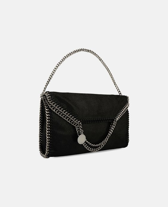 STELLA McCARTNEY Black Falabella Shaggy Deer Fold Over Tote Tote D h