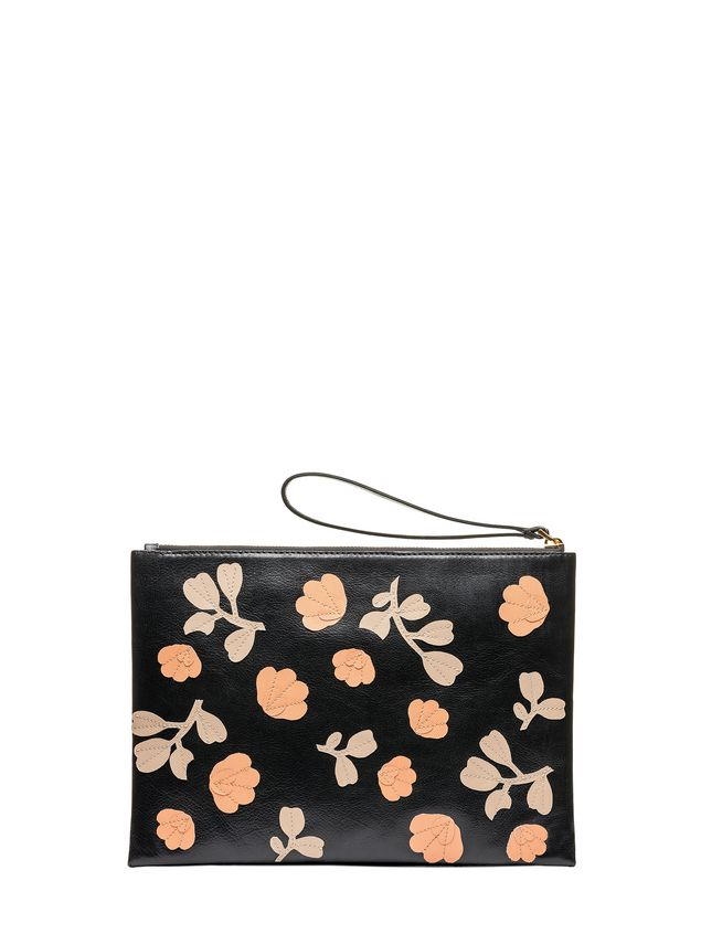 Marni Flat ENVELOPE bag in buffalo with leather flowers Woman