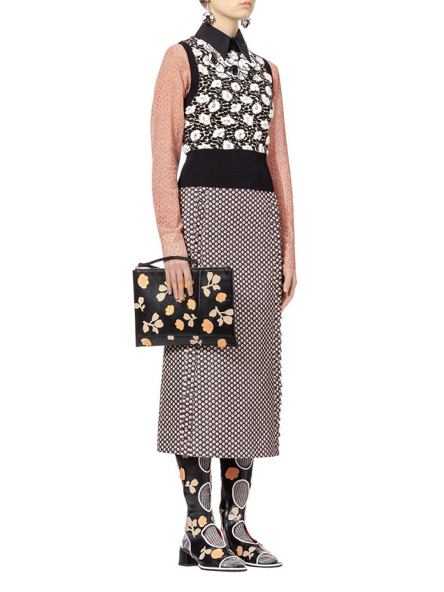 Marni Flat ENVELOPE bag in buffalo with leather flowers Woman - 4