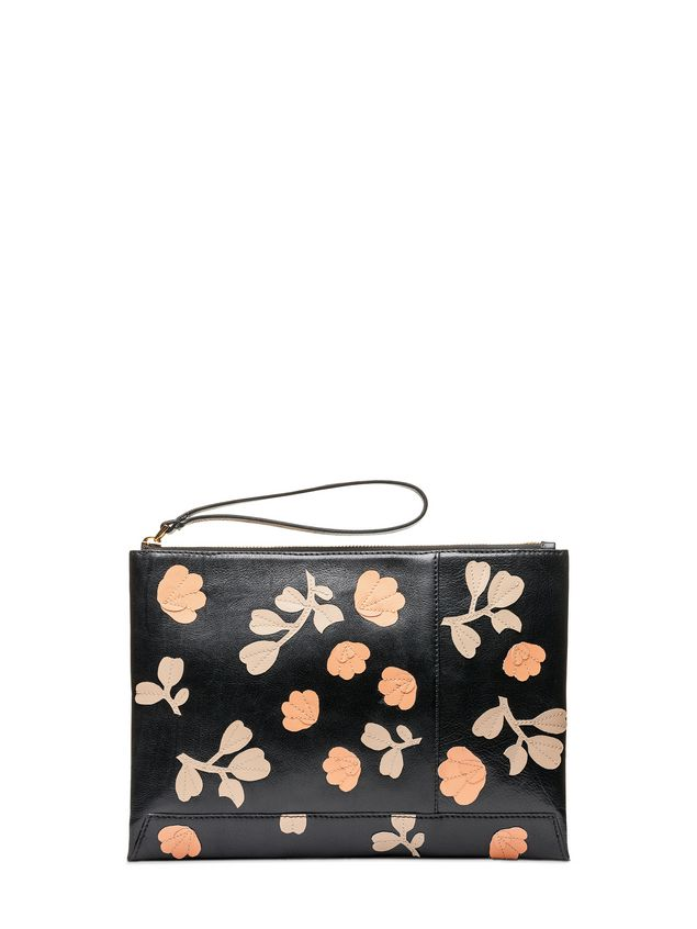Marni Flat ENVELOPE bag in buffalo with leather flowers Woman - 1