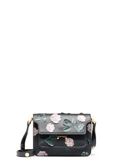 Marni MINI TRUNK bag in calfskin with flower applications in python Woman