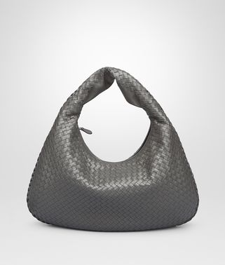 LIGHT GRAY INTRECCIATO NAPPA MEDIUM VENETA BAG