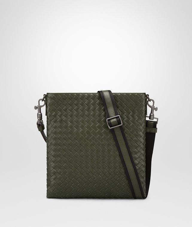 BOTTEGA VENETA SMALL MESSENGER BAG IN DARK SERGEANT INTRECCIATO VN Messenger Bag U fp