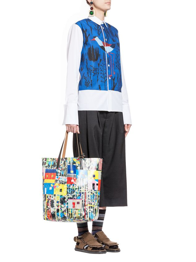 MARNI Shopping Bag Woman SHOPPING bag in pvc Roger Mello print a