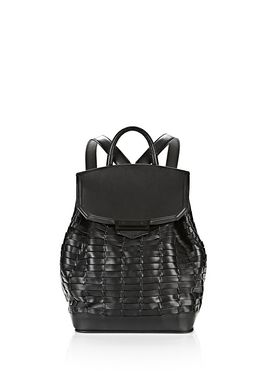 WOVEN PRISMA BACKPACK IN BLACK WITH MATTE BLACK