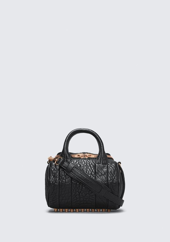 ALEXANDER WANG mini-bags MINI ROCKIE IN PEBBLED BLACK WITH ROSE GOLD