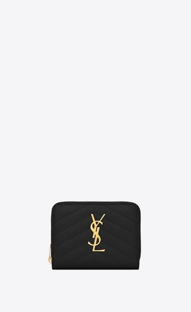 SAINT LAURENT Monogram Matelassé D monogram compact zip around wallet in black grain de poudre textured matelassé leather a_V4