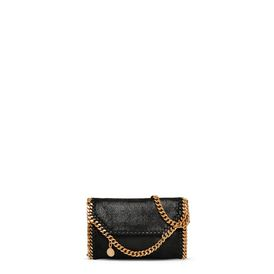 STELLA McCARTNEY Borse a Spalla Falabella D Falabella Tiny Fold Over Tote Nera in Shaggy Deer   f