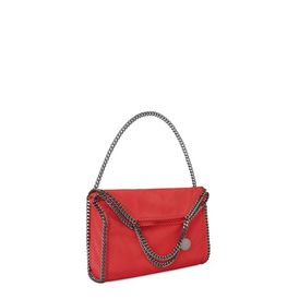 Falabella Fold Over Tote Cherry in Shaggy Deer