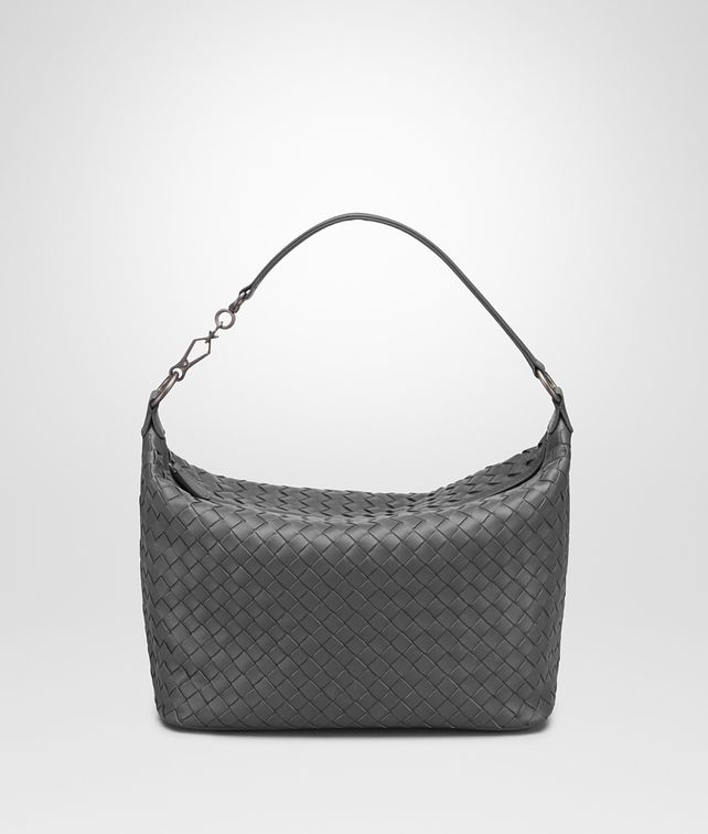 BOTTEGA VENETA SMALL SHOULDER BAG IN NEW LIGHT GREY INTRECCIATO NAPPA Shoulder Bag [*** pickupInStoreShipping_info ***] fp