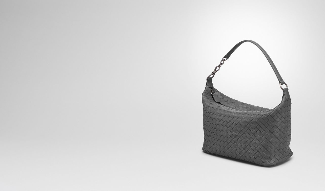light gray intrecciato nappa small shoulder bag landing