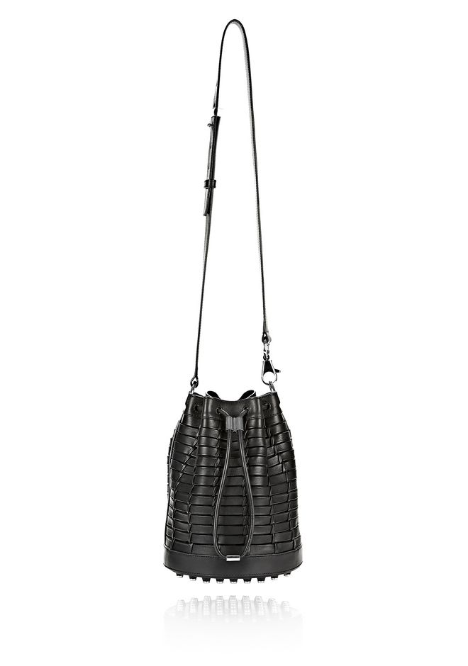 ALEXANDER WANG WOVEN ALPHA BUCKET IN BLACK WITH RHODIUM Shoulder bag Adult 12_n_e