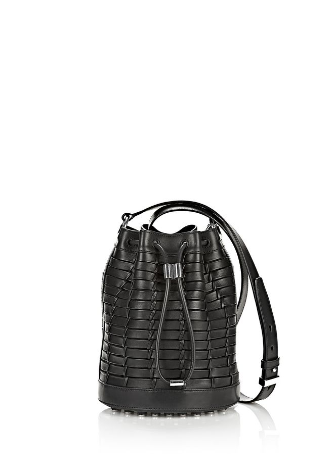 ALEXANDER WANG WOVEN ALPHA BUCKET IN BLACK WITH RHODIUM Shoulder bag Adult 12_n_f
