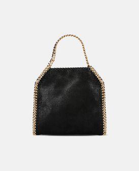 Schwarze Mini Tote Bag Falabella aus Shaggy Deer