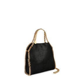 Falabella Mini Tote Nera in Shaggy Deer
